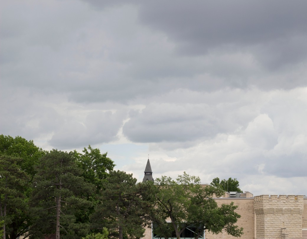Ominuous clouds over Kansas State University's Anderson Hall